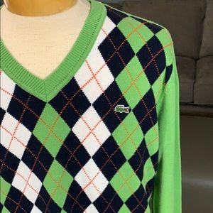 Men's Lacoste V-Neck Argyle Sweater